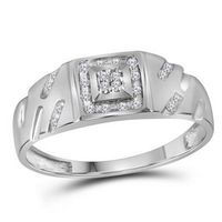 10k White Gold Round Diamond Square Cluster Ring 1/8 Cttw