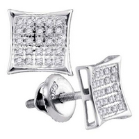 Sterling Silver Round Diamond Square Kite Cluster Stud Earrings 1/6 Cttw