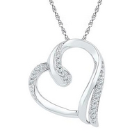 Sterling Silver Round Diamond Heart Pendant 1/10 Cttw