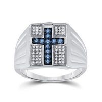 Sterling Silver Round Blue Diamond Cross Religious Ring 1/2 Cttw