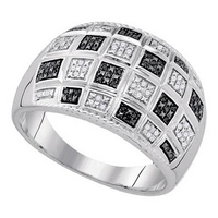 Sterling Silver Mens Round Black Color Enhanced Diamond Checker Ring 1/5 Cttw