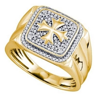 Yellow-tone Sterling Silver Mens Round Diamond Cross Square Fashion Ring 1/5 Cttw