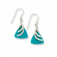 Silver Imitation Triangle Turquoise Earrings