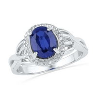Sterling Silver  Oval Lab-Created Blue Sapphire Solitaire Ring 1-5/8 Cttw