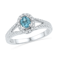 Sterling Silver  Oval Lab-Created Blue Topaz Solitaire Diamond Split-shank Ring 1/2 Cttw