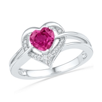 Sterling Silver Round Lab-Created Pink Sapphire Heart Diamond Ring 1-1/8 Cttw