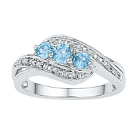 Sterling Silver Round Lab-Created Blue Topaz 3-stone Ring 1/2 Cttw