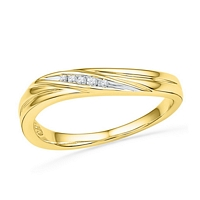 10kt Yellow Gold Round Diamond Contoured Band Ring .02 Cttw
