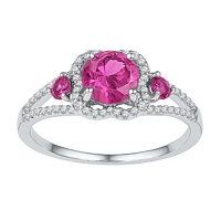 Sterling Silver Round Lab - Created Pink Sapphire 3 - Stone Diamond - Accent Ring 1 - 5/8 Cttw