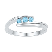 Sterling Silver Round Lab-Created Blue Topaz 3-stone Ring 3/8 Cttw