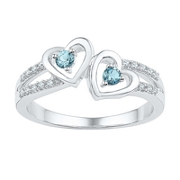 Sterling Silver Round Lab-Created Aquamarine Diamond Heart Ring 1/5 Cttw