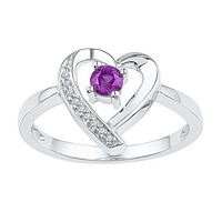Sterling Silver Round Lab-Created Amethyst Diamond Heart Ring 1/4 Cttw