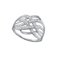 10kt White Gold Round Diamond Woven Fashion Band Ring 1/20 Cttw