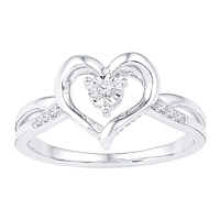 Sterling Silver Round Diamond Heart Love Ring 1/20 Cttw