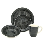 16 Piece Round Stoneware Dinnerware Set Black