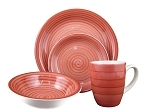 16 Piece Round Stoneware Dinnerware Set- Red