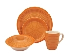 16 Piece Round Stoneware Dinnerware Set- Orange