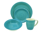 16 Piece Round Stoneware Dinnerware Set- Blue