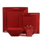 16 Piece Square Beaded Stoneware Dinnerware set by Lorren Home Trends - Red