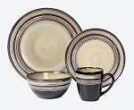 16 Piece Lorren Home Trends Neutral and Red Dinnerware Set