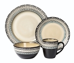 16 Piece Lorren Home Trends Glazed Dinnerware Neutral and Blue