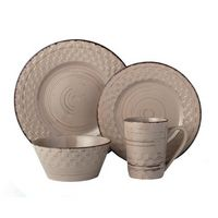 16 Piece Lorren Home Trends Distressed Weave Dinnerware Set